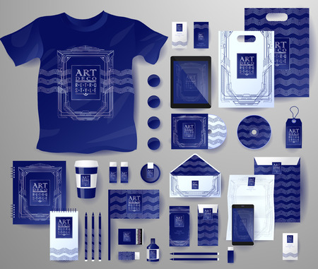 respectable: Abstract  business set in Art deco style . Corporate identity templates, notebook, card, flag, T-shirt, disk, package,  label, envelope, pen, Tablet PC, Mobile Phone, matches, ink, pencil, paper cup, forms, folders for documents, invitation card Illustration
