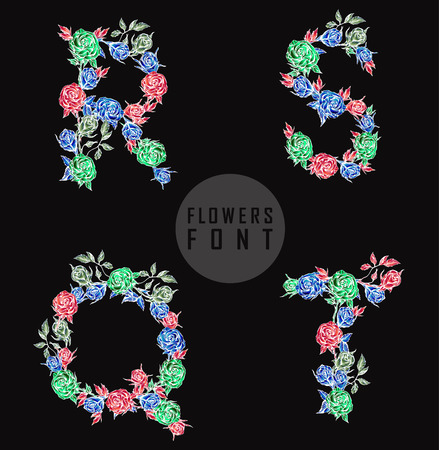 flower font: Vector colorful flower font. Can be used banners, invitation, congratulation or website layout vector Illustration
