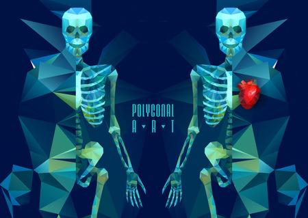 squelette: Squelette polygonale. faible illustration poly. Affiche créative polygonale
