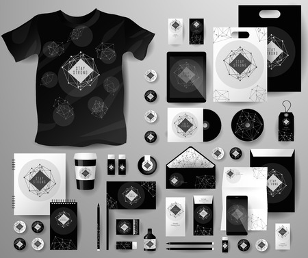galaxy: Abstract  business set in cosmic polygonal style. Corporate identity templates, notebook, card, flag, T-shirt, disk, package,  label, envelope, pen, Tablet PC, Mobile Phone, matches, ink, pencil, paper cup, forms, folders for documents, invitation card
