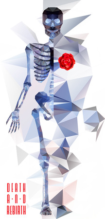 esqueleto: Esqueleto poligonal. bajo la ilustración poli. Cartel creativo Poligonal Vectores
