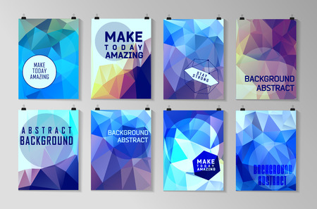 Set of poster, flyer, brochure design templates. Abstract modern polygonal backgrounds. Stok Fotoğraf - 43055282