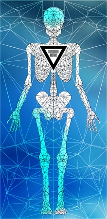 polygonal: Abstract polygonal skeleton. Linear illustration. Polygonal poster Illustration