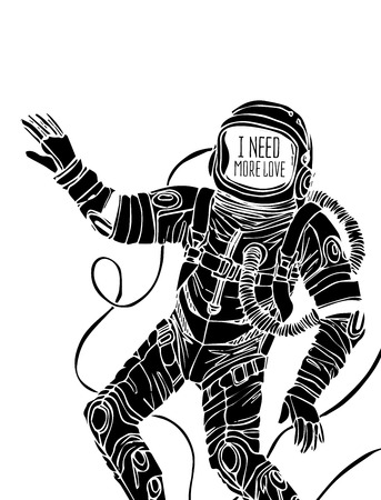 alien clipart: Space concept with astronaut and Quote Background, typography. Cosmic poster