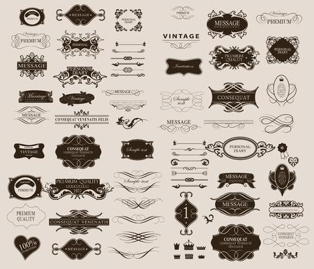 vintage: Uppsättning calligraphic element för konstruktion kan användas för inbjudan, lyckönskan Illustration