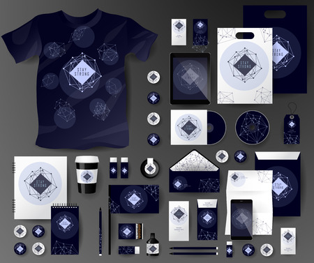 corporate: Abstract  business set in cosmic polygonal style. Corporate identity templates, notebook, card, flag, T-shirt, disk, package,  label, envelope, pen, Tablet PC, Mobile Phone, matches, ink, pencil, paper cup, forms, folders for documents, invitation card