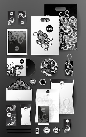 pen tablet: Abstract  business set with octopus. Corporate identity templates, card, disk, package, label, envelope, pen, Tablet PC, Mobile Phone, pencil, folders for documents, invitation card Illustration