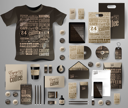 Abstract  business set for coffee shop, cafe . Corporate identity templates in typographic style, notebook, card, flag, T-shirt, disk, package,  label, envelope, pen, Tablet PC, Mobile Phone, matches, ink, pencil, paper cup, forms, folders for documents,
