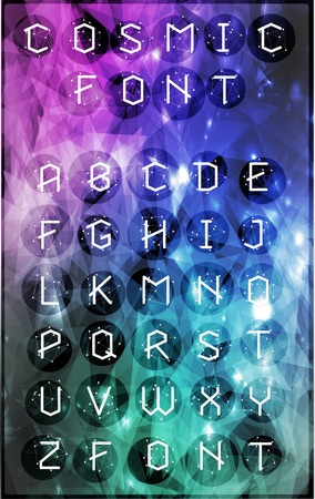theorem: Abstract polygonal letter in Cosmic style. Low poly alphabet font. Elements of astronomy