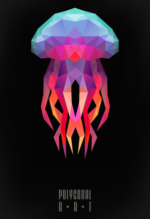 jellyfish: Abstract polygonal jellyfish. low poly illustration. Creative poster
