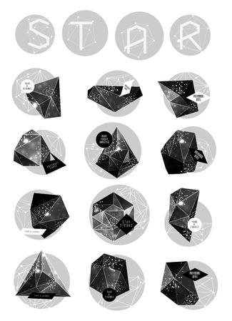 teorema: Cristal cósmico poligonal abstracta y la etiqueta. Elementos de la astronomía y la constelación. Estilo Cósmico. bajo la ilustración poli