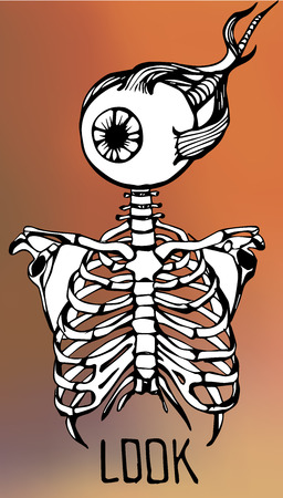 chest pain: Human skeleton. Creative quote background. Digital illustration