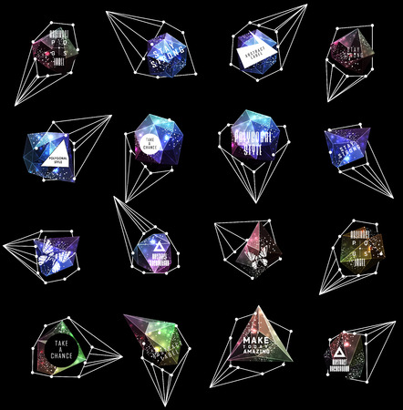 teorema: Abstract polygonal label design. Elements of astronomy and constellation. Cosmic style. . low poly illustration