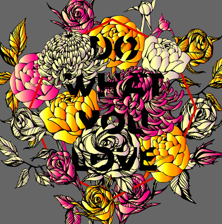background decorative: Quote Background with beautiful flowers. Typography background. Decorative floral elements