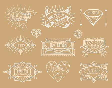 El Diseño Del Vintage Retro Abstracto. Etiquetas De Línea, Insignias ...