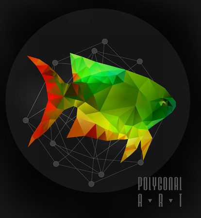 stag beetle: Abstract polygonal fish. low poly illustration. Creative poster Illustration