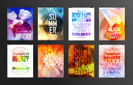 sunshine: Set of poster, flyer, brochure design templates.. Elements for Summer Holidays with colorful background. Calligraphic designs and ornaments