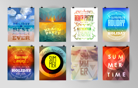 summer holidays: Set of poster, flyer, brochure design templates.. Elements for Summer Holidays with colorful background. Calligraphic designs and ornaments