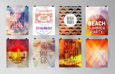 background summer: Set of poster, flyer, brochure design templates.. Elements for Summer Holidays with colorful background. Calligraphic designs and ornaments
