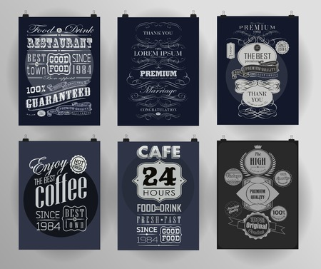 poster: Set of poster, flyer, brochure design templates . Calligraphic design elements and page decoration