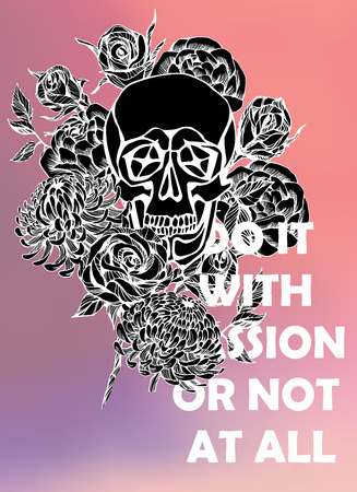 typographical: Quote Typographical Background with hand draw skull