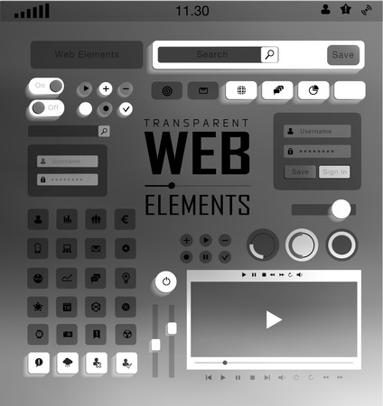Vector flat transparent Web, mobile Elements, icons. Buttons and Labels, blur background