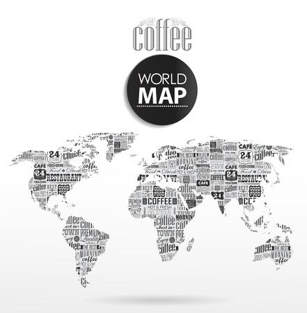 정보 그래픽의 현대 요소. 커피, 인쇄상의 세계지도 일러스트