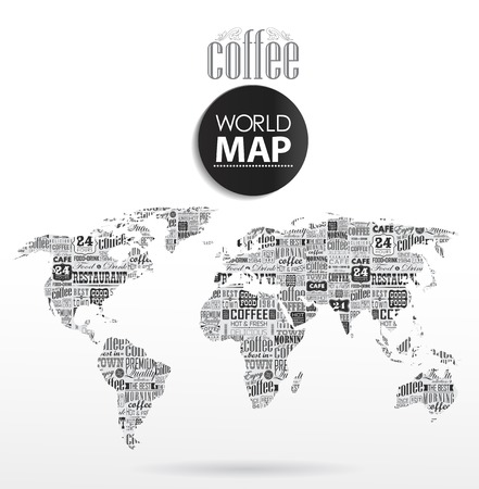 Modern elements of info graphics. Coffee, typographic  World Map