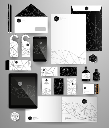 Abstract thin line polygonal business set. Geometric, triangles. Corporate identity templates: blank, business cards, badge, envelope, pen, Folder for documents, Tablet PC, Mobile Phone Illustration