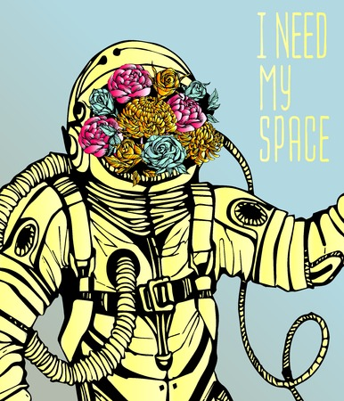 astronaut: Space concept with astronaut, Quote Background and flowers, typography. Cosmic poster