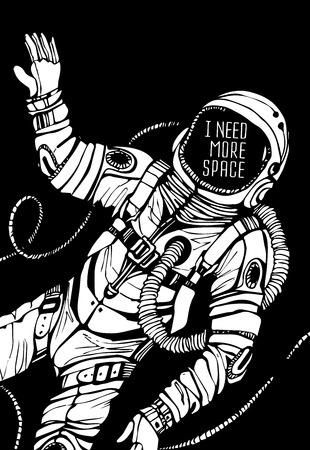 Space concept met astronaut en Citaat achtergrond, typografie. Cosmic poster Stock Illustratie
