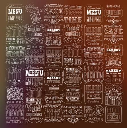 Mega set of thin line Vintage Retro Coffee  Labels and typography. Coffee decoration collection Иллюстрация