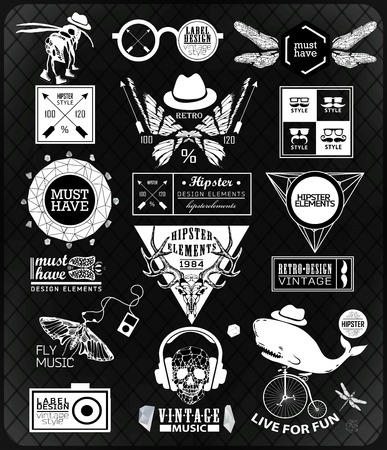 old style: Hipster label, icon, elements, set of vintage hipster label with gothic, sacral sign and symbol