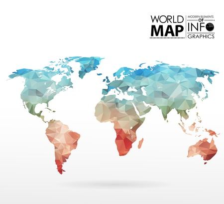 blue world map: World map background in polygonal style. Modern elements of info graphics. World Map