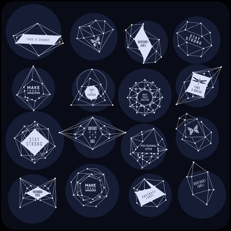 Abstract polygonal label design. Elements of astronomy and constellation. Cosmic style 向量圖像