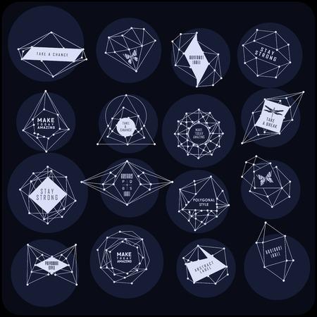 galaxie: Abstrakt polygonal Label-Design. Elemente der Astronomie und der Konstellation. Cosmic Stil