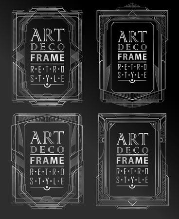 vintage: Art deco geometryczny zabytkowe ramki mogą być wykorzystane do zaproszenia, gratulacje