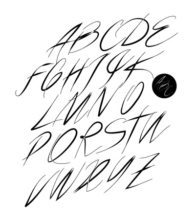 italics: Calligraphic alphabet. Design elements can be used for invitation, congratulation. Digital illustration