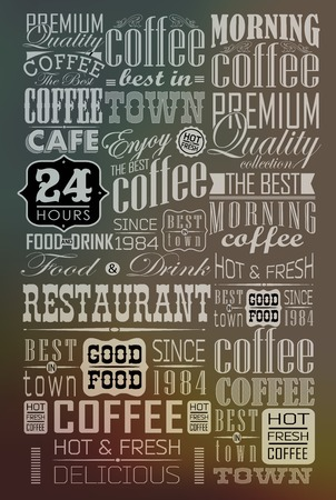 cappuccino: Mega set of thin line Vintage Retro Coffee  Labels and typography. Coffee decoration collection Illustration