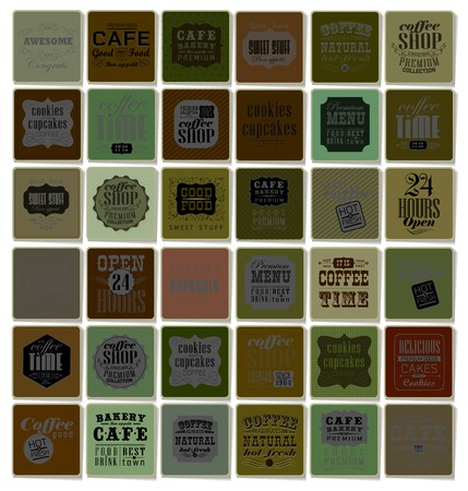 Mega set of Vintage Retro Coffee  Labels and typography. Pattern in retro style