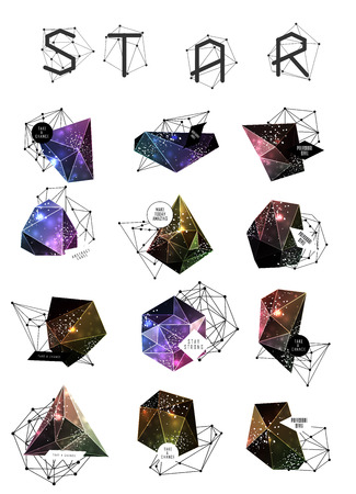 speech cloud: Abstract polygonal cosmic crystal and label. Elements of astronomy and constellation. Cosmic style. low poly illustration Illustration