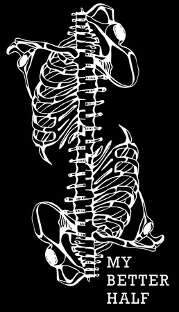humerus: Human skeleton. Creative quote background. Digital illustration
