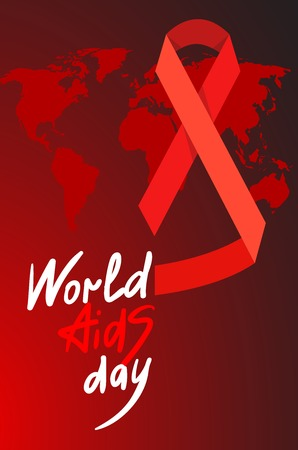 deficiency: World AIDS Day. 1st December World Aids Day poster with with calligraphic text AIDS Day . Vector AIDS Day illustration
