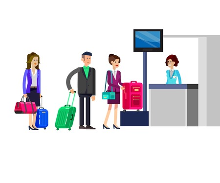 Vector detailed characters people in airport lounge. Woman is registered, people baggage claim, flat  illustration isolated on white background.