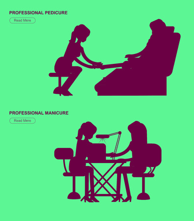 saloon: Detailed Manicurist silhouette character makes a professional manicure and pedicure woman. Template for beauty saloon