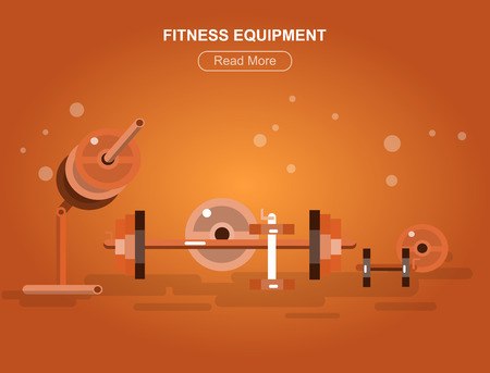 fitness equipment: Gym design concept with with fitness equipment, cool flat  illustration. Web banner template