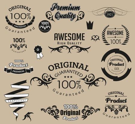 calligraphic design: Set of calligraphic elements, calligraphic design  can be used for calligraphic invitation, calligraphic congratulation Illustration