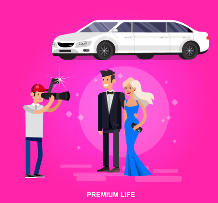 limousine: Vector detailed character rich and beautiful celebrities Illustration