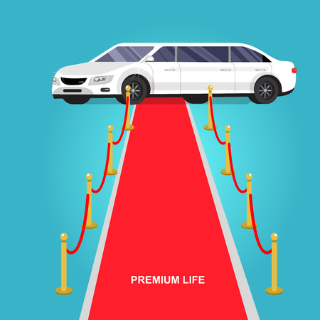 premiere: detailed vector luxury limousine car and red carpet for world premiere Illustration