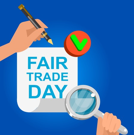 trade fair: Digitally generated Fair Trade. Vector illustration flat